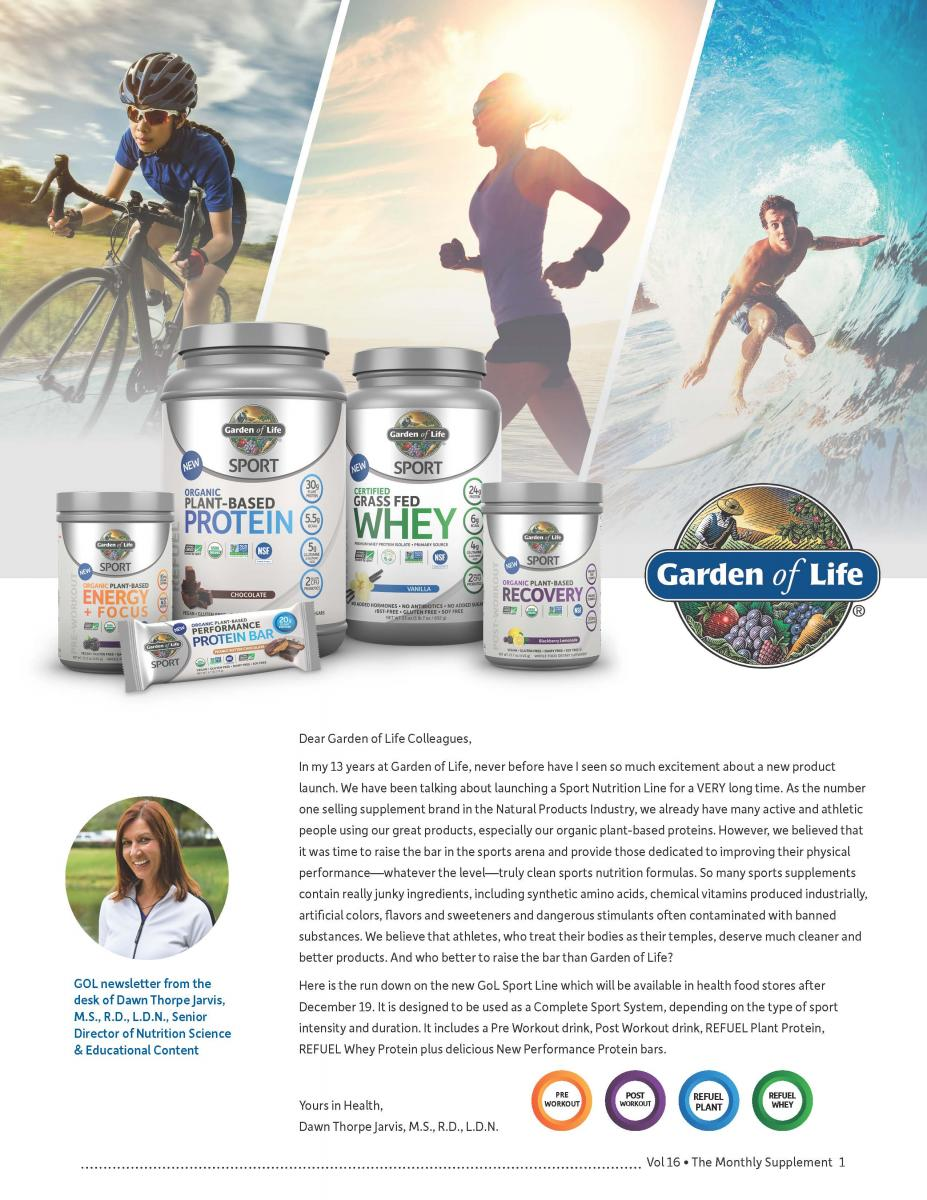 Garden of Life Launches New Sport Nutrition Line