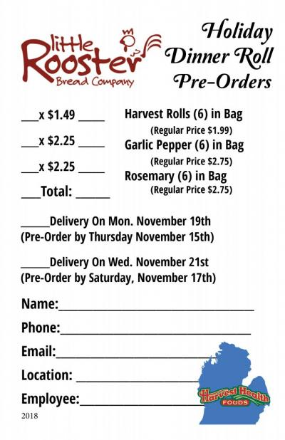 Little Rooster Pre-Order Roll Form
