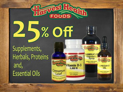Harvest Health Foods supplements are on Sale in May