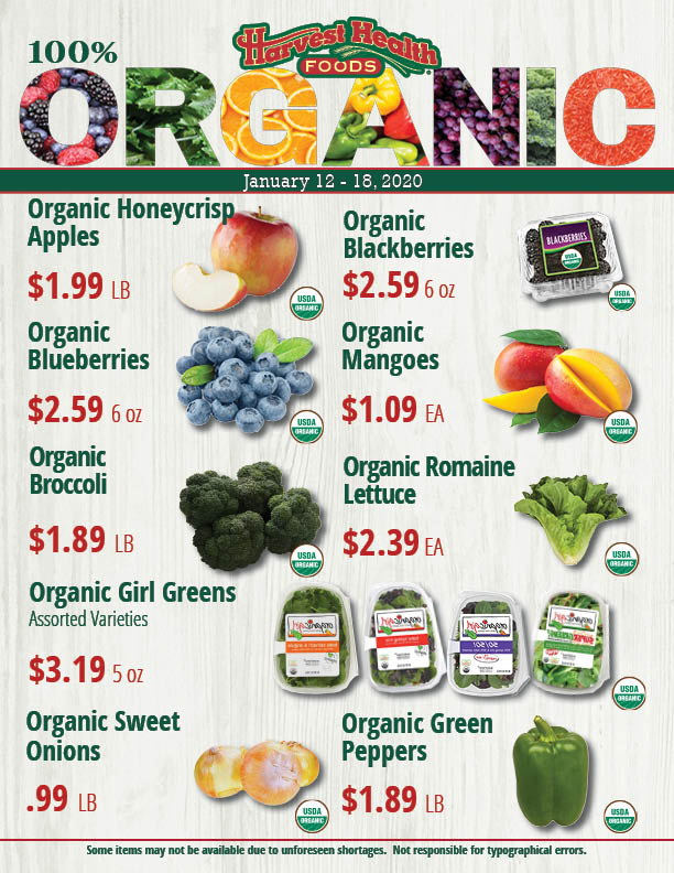 Fresh Organic Produce Features 1/12/20